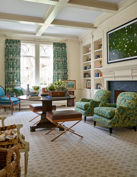 formal living room, green chairs