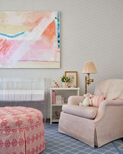 nursery, pink chair, pink ottoman