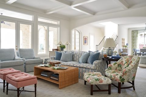 living room, floral chair and ottoman, pink ottoman