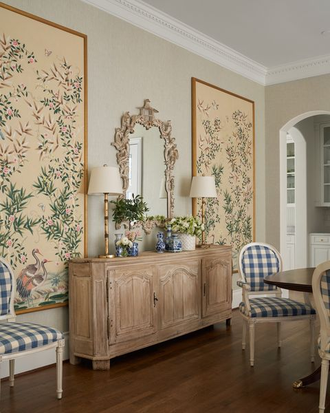 dining room, wooden console, mirror