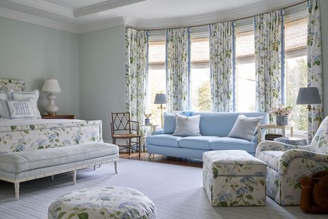 bedroom, floral curtains