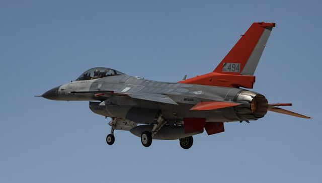 a qf 16 full scale aerial target takes off from holloman air force base, new mexico for a rehearsal of a missile test on a qf 16 us air force photo by tech sgt perry aston