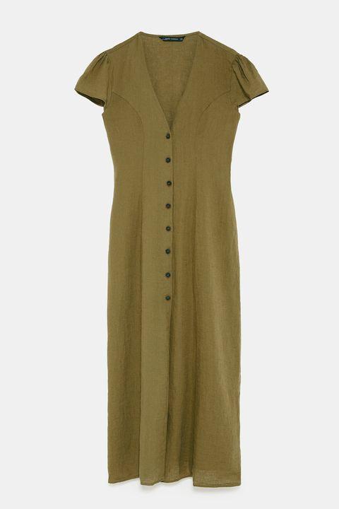 Clothing, Sleeve, Khaki, Beige, Button, Outerwear, Dress, Day dress, Collar,