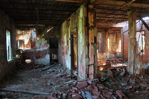 Ruins, Building, House, Room, Hall,