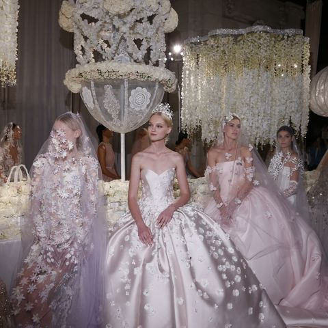 Gown, Wedding dress, Dress, Clothing, Bridal clothing, Bridal party dress, Haute couture, Bridal accessory, Fashion, Shoulder,