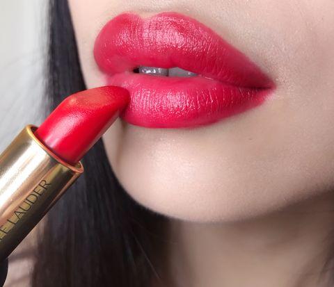 Lip, Red, Lipstick, Pink, Beauty, Cosmetics, Lip gloss, Mouth, Cheek, Skin,