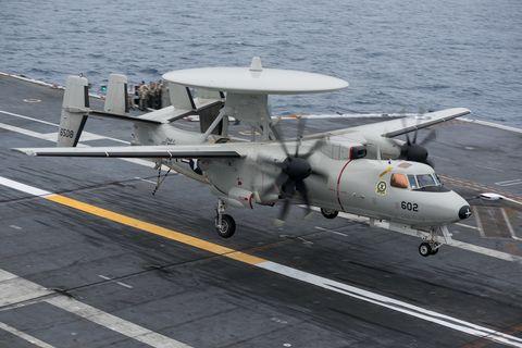 Aircraft, Vehicle, Airplane, Northrop grumman e-2 hawkeye, Propeller-driven aircraft, Aviation, Flight, Aircraft carrier, Propeller, Northrop Grumman,