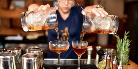 Drink, Alcoholic beverage, Bartender, Distilled beverage, Classic cocktail, Bar, Cocktail, Alcohol, Liqueur, Barware,