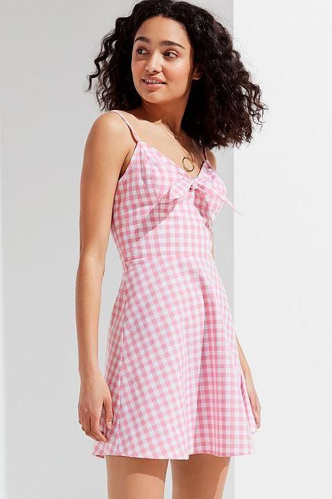 Clothing, White, Pink, Dress, Fashion model, Day dress, Fashion, Thigh, Neck, Shoulder,