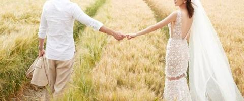 People in nature, Photograph, Wedding dress, Dress, Bride, Grass family, Interaction, Bridal clothing, Grassland, Grass,