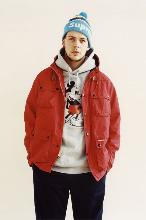 Clothing, White, Jacket, Orange, Outerwear, Hood, Blue, Beanie, Fashion, Sleeve,