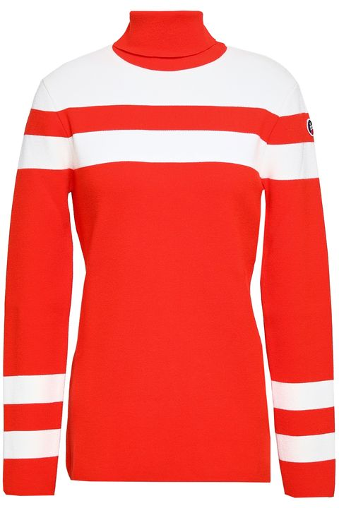 women's ski wear -turtleneck stripe jumper