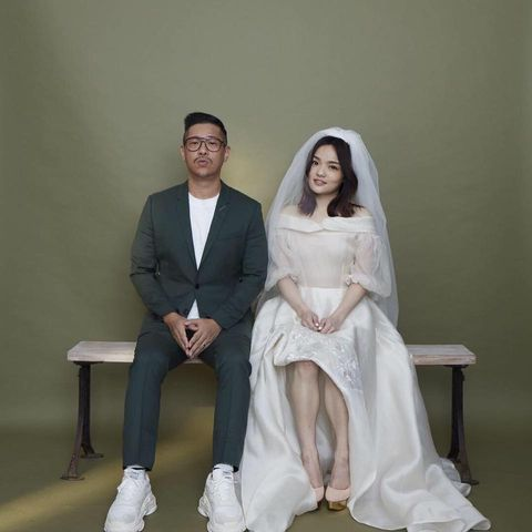 White, Photograph, Formal wear, Wedding dress, Dress, Veil, Suit, Bridal clothing, Sitting, Event,