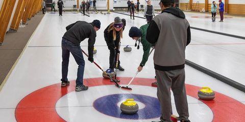 Curling, Floor, Team sport, Sports, Flooring, Recreation, Ice rink,
