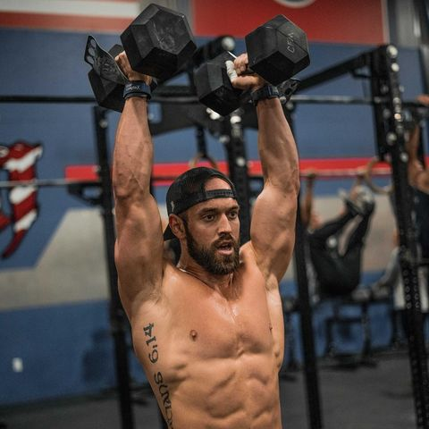 Physical fitness, Shoulder, Barechested, Muscle, Chest, Bodybuilder, Overhead press, Weights, Bodybuilding, Arm,