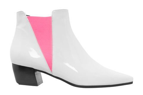Footwear, White, Pink, Shoe, High heels, Boot, Material property, Magenta, Beige,