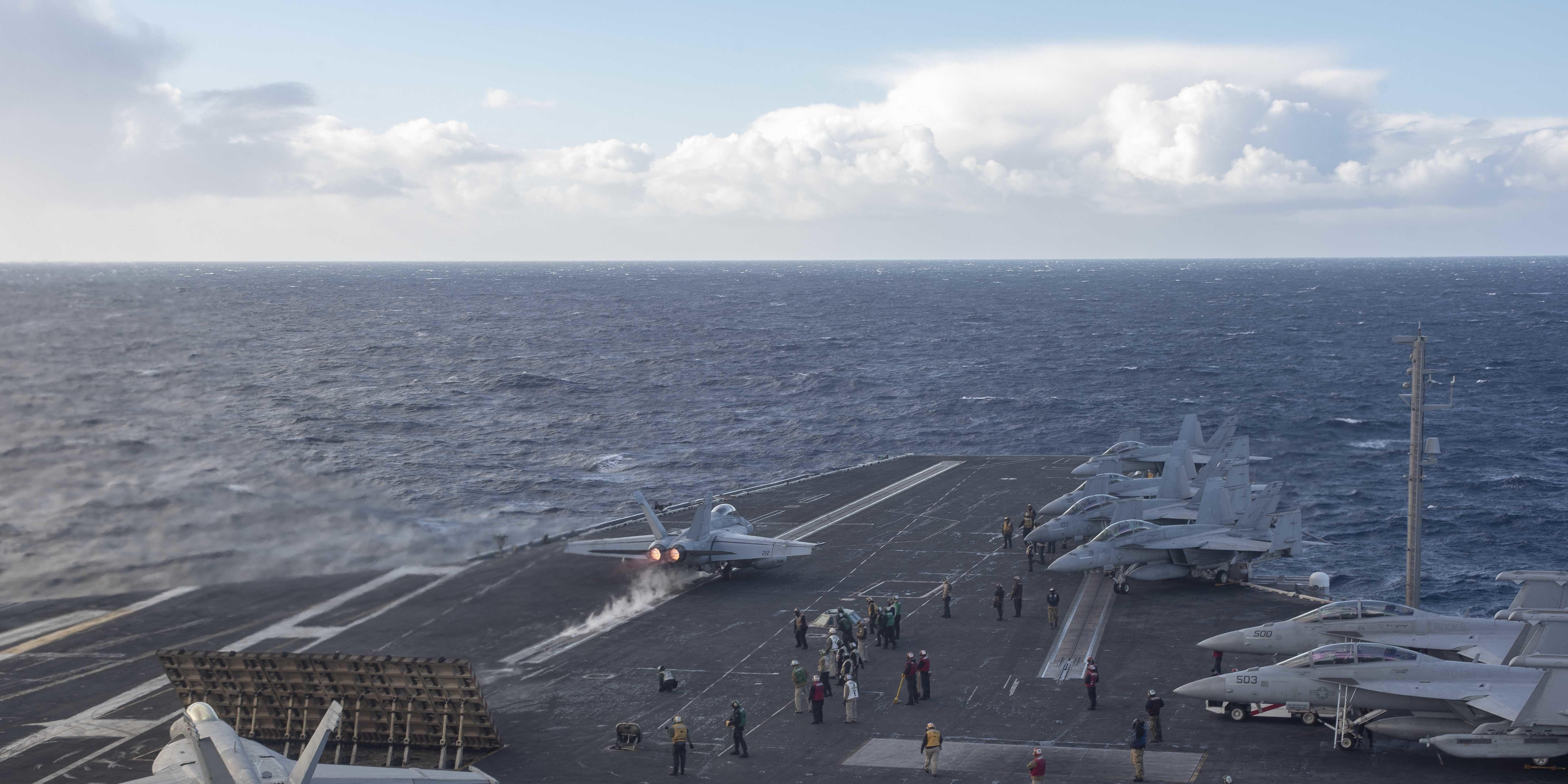Carrier strike group operations in the Atlantic Ocean.