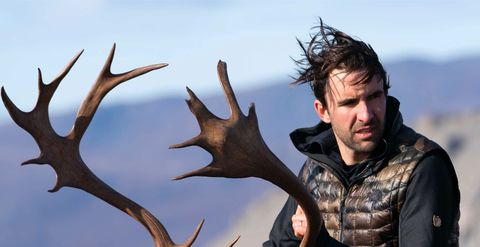 man with caribou horns