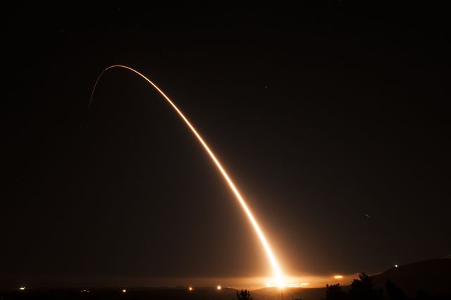 an unarmed minuteman iii intercontinental ballistic missile launches during an operational test at 1101 pacific standard time tuesday, nov 6, 2018, at vandenberg air force base, calif us air force photo by tech sgt jim araosreleased