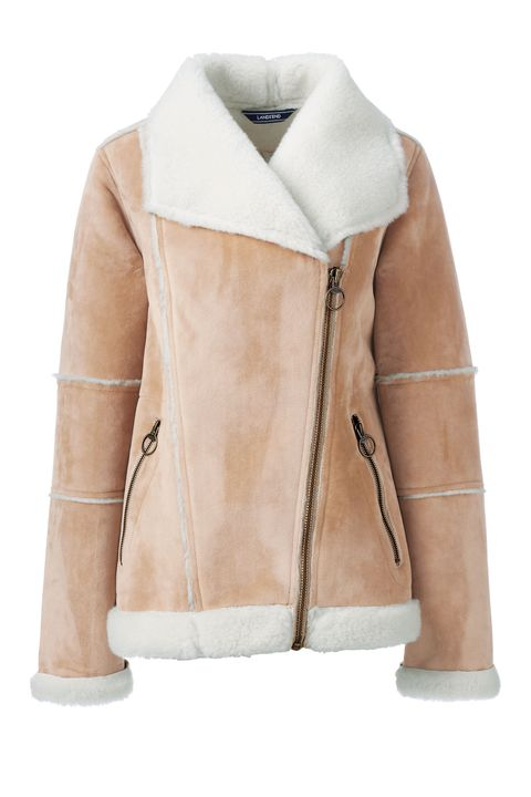 Clothing, Jacket, Outerwear, Leather, Leather jacket, Sleeve, Beige, Tan, Collar, Fur,