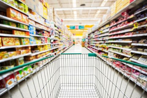 Retail, Convenience store, Supermarket, Aisle, Grocery store, Trade, Marketplace, Shopping cart, Food storage, Cart,