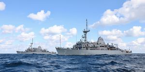 USS Pioneer and USS Patriot join forces at sea