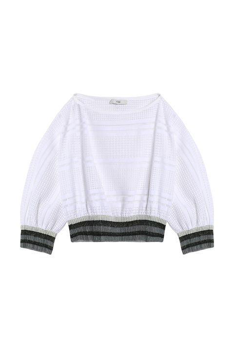 Clothing, White, Sleeve, Outerwear, Sweater, Crop top, Blouse, Jacket, Wool, Top,