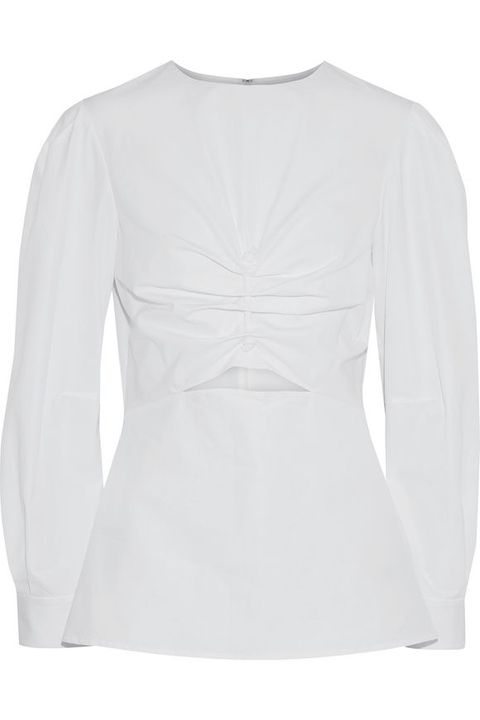 Clothing, White, Sleeve, Long-sleeved t-shirt, Outerwear, T-shirt, Blouse, Top, Neck, Shirt,