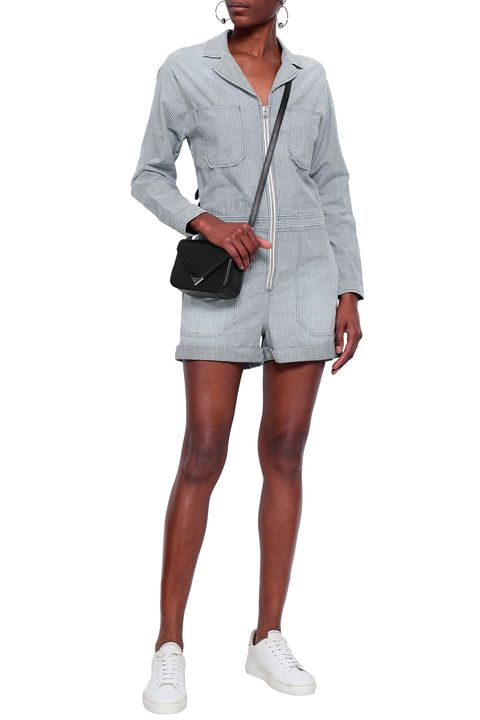 the outnet AG JEANS Striped cotton-chambray playsuit