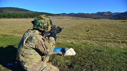 Soldier, Military, Army, Infantry, Military organization, Paratrooper, Landscape, Grassland, Military camouflage, Personal protective equipment,