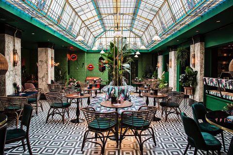 Building, Restaurant, Table, Room, Interior design, Architecture, Tree, Leisure, Furniture, Cafeteria,