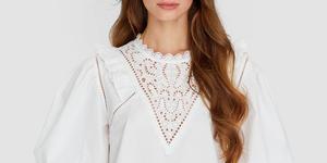 Stradivarius vestido blanco mangas abullonadas