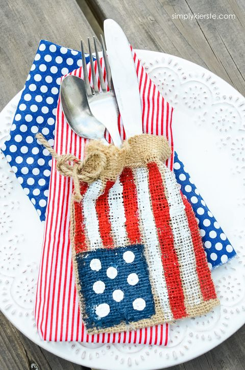 4th of july craft burlap flag silverware holders