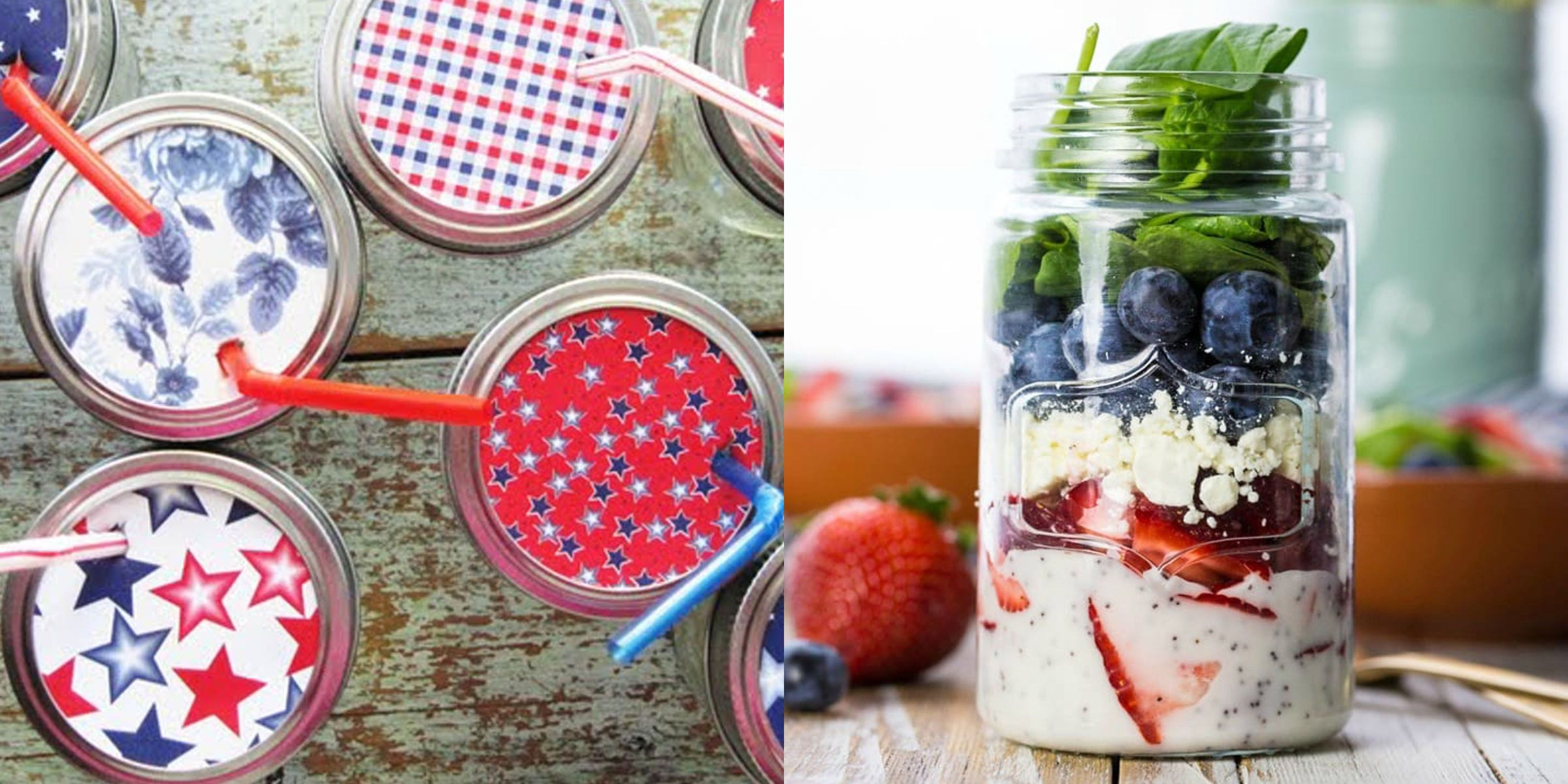 Red White Mason Jars; Flags; Flowers and Box and Blue Centerpiece