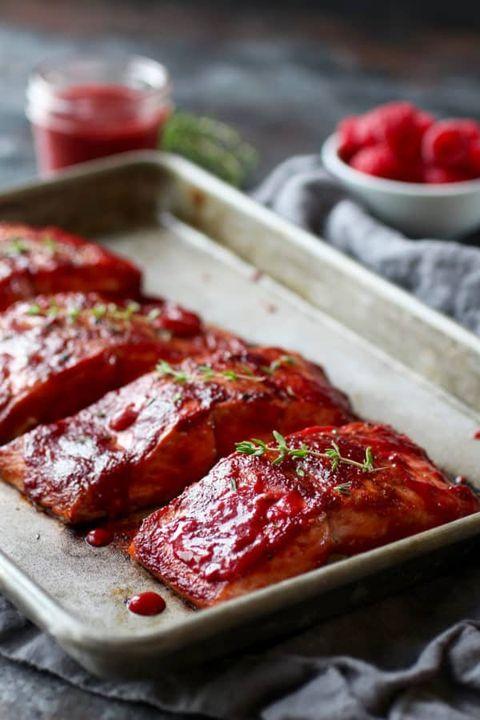 4th of july menu salmon raspberry glaze en