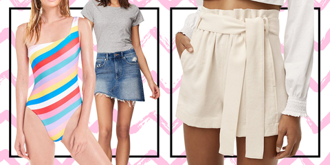 Clothing, White, Pink, Waist, Fashion, Shorts, Shoulder, Dress, Denim, Leg,