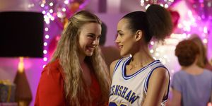 Four Weddings and A Funeral Ainsley (Rebecca Rittenhouse) and Maya (Nathalie Emmanuel)