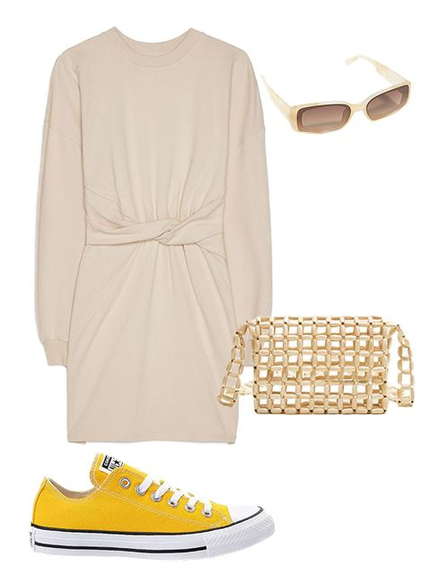 White, Footwear, Yellow, Clothing, Shoe, Beige, Dress, Sneakers, Plimsoll shoe, Sleeve,