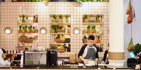 Room, Brunch, Meal, Food, Cook, Restaurant, Kitchen, Interior design, Cuisine,
