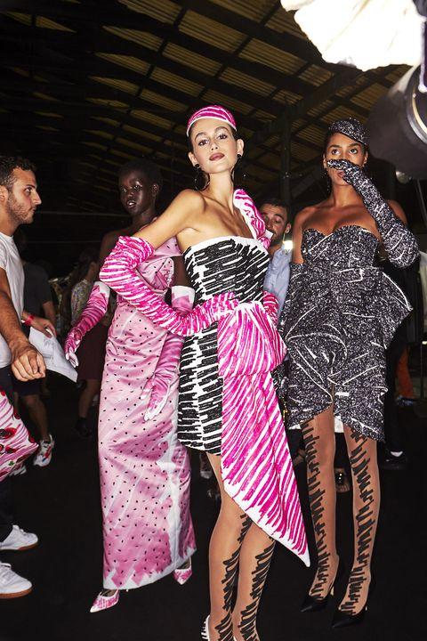 Pink, Clothing, Fashion, Dress, Event, Fashion design, Dance, Fashion model, Formal wear, Haute couture,