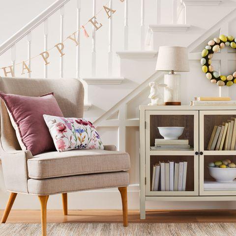 Furniture, Product, Room, Shelf, Living room, Wall, Interior design, Pink, Table, Floor,