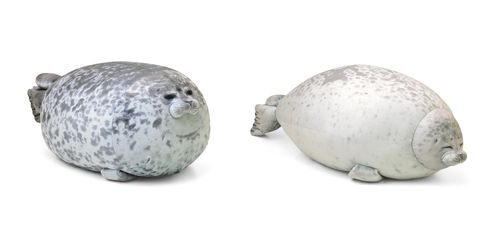 Earless seal, Marine mammal, Harbor seal, Animal figure, Baltic gray seal, Ceramic,