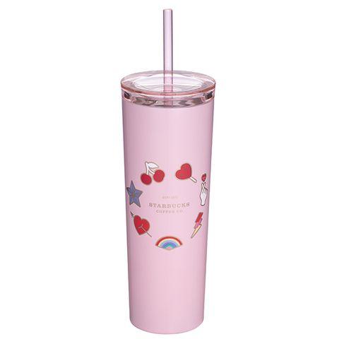 Pink, Tumbler, Cylinder, Smoothie, Milkshake, Plastic,