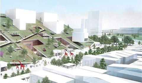 綠色建築與白色長方形建築
