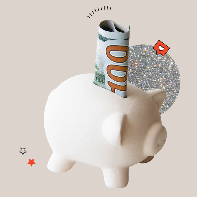 a white piggy bank with a 100 bill in it