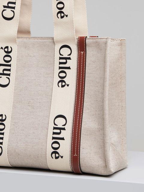 chloe woody咖啡色皮革飾邊中型托特包