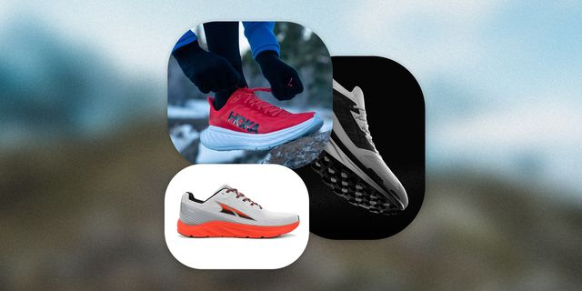 running shoes from hoka, altra, and the north face