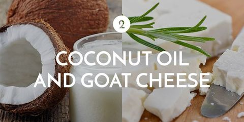 Food, Ingredient, Dairy, Goat cheese, Cheese, Camembert Cheese, Cuisine, Dish, Feta, Coconut,