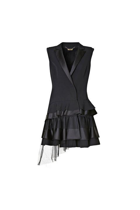 Clothing, Black, Outerwear, Dress, Cocktail dress, Little black dress, Sleeve, Sleeveless shirt, Vest, Neck,