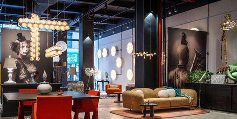 Lighting, Interior design, Floor, Room, Flooring, Furniture, Interior design, Couch, Decoration, Living room,